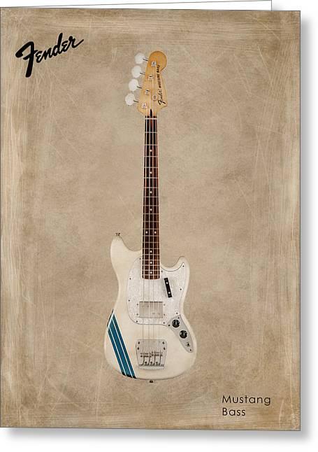 Mustang Greeting Cards - Fender Mustang Bass Greeting Card by Mark Rogan