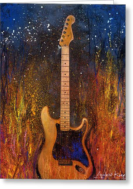 Music Greeting Cards - Fender On Fire Greeting Card by Andrew King