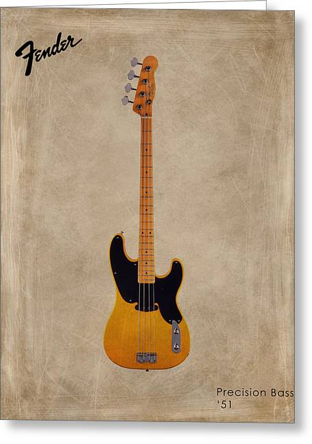 Rock N Roll Photographs Greeting Cards - Fender Precision Bass 1951 Greeting Card by Mark Rogan