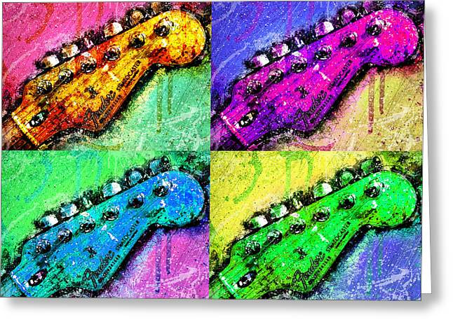 Fender Strat Greeting Cards - Fender Quadra Pop Art Greeting Card by Gary Bodnar