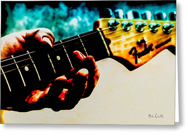 Peg Greeting Cards - Fender Strat Greeting Card by Bob Orsillo