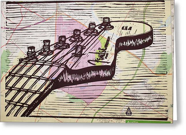 Fender Strat Drawings Greeting Cards - Fender Strat on Map Greeting Card by William Cauthern