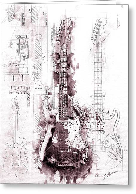 Fender Strat Greeting Cards - Fender Strat Scarlet Drip Greeting Card by Gary Bodnar