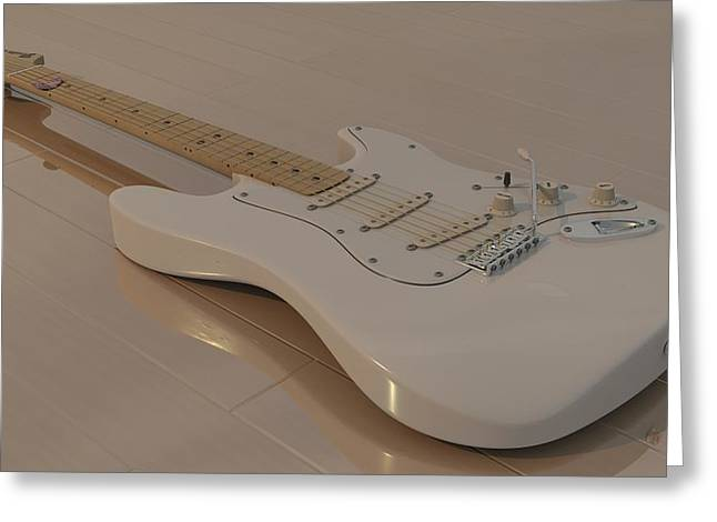 Fender Stratocaster In White Greeting Card by James Barnes