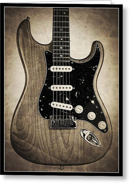Recently Sold -  - Playing Musical Instruments Greeting Cards - Fender Stratocaster Sepia Border Greeting Card by John Cardamone