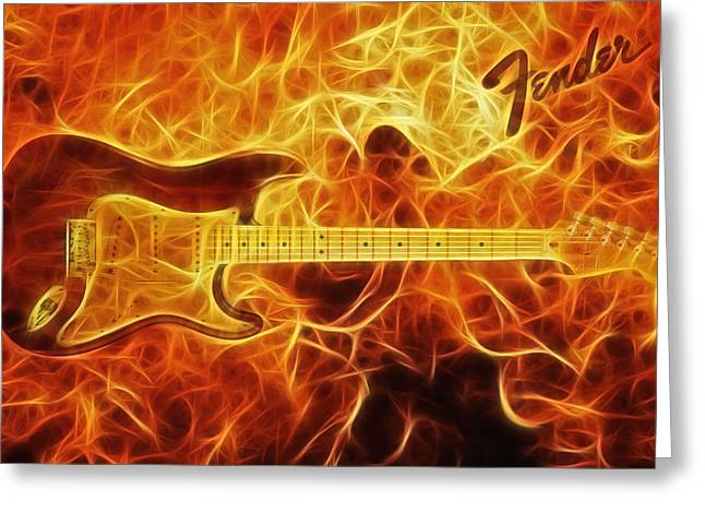 Fender Stratocaster Greeting Card by Taylan Soyturk