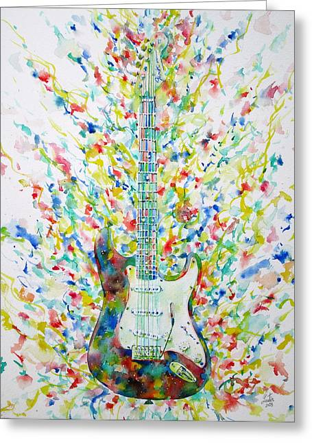 Guitar Pictures Greeting Cards - FENDER STRATOCASTER - watercolor portrait Greeting Card by Fabrizio Cassetta