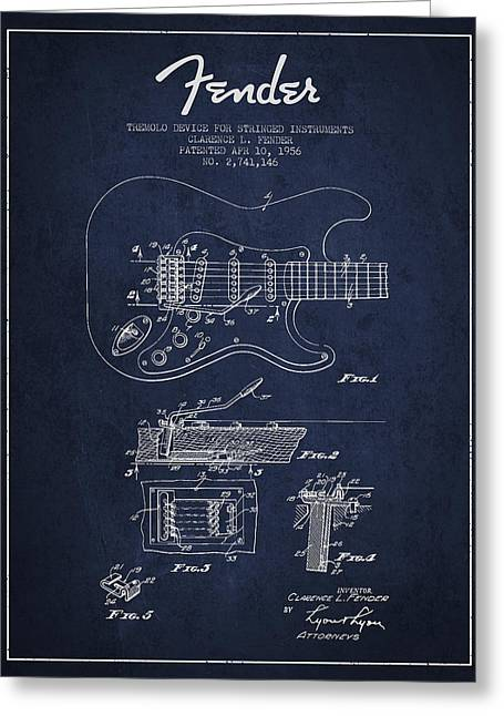 Best Sellers -  - Technical Digital Art Greeting Cards - Fender Tremolo Device patent Drawing from 1956 Greeting Card by Aged Pixel