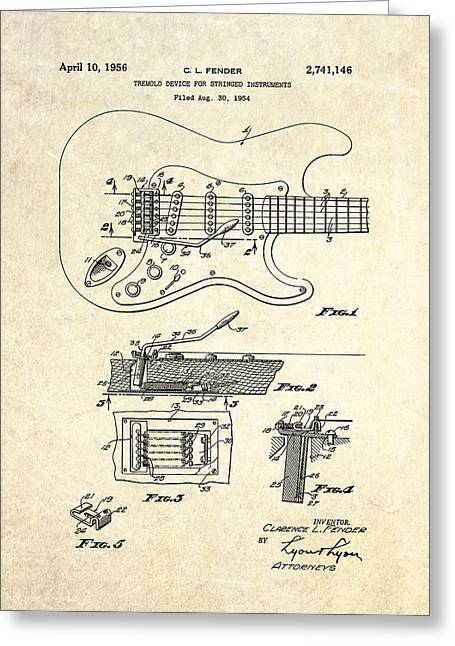 Tremolo Greeting Cards - 1956 Fender Tremolo Patent Drawing Greeting Card by Gary Bodnar