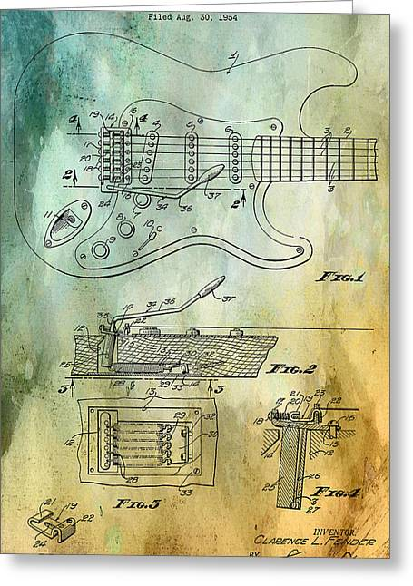 Element Of Sound Greeting Cards - Fender Tremolo Patent Greeting Card by Nomad Art And  Design