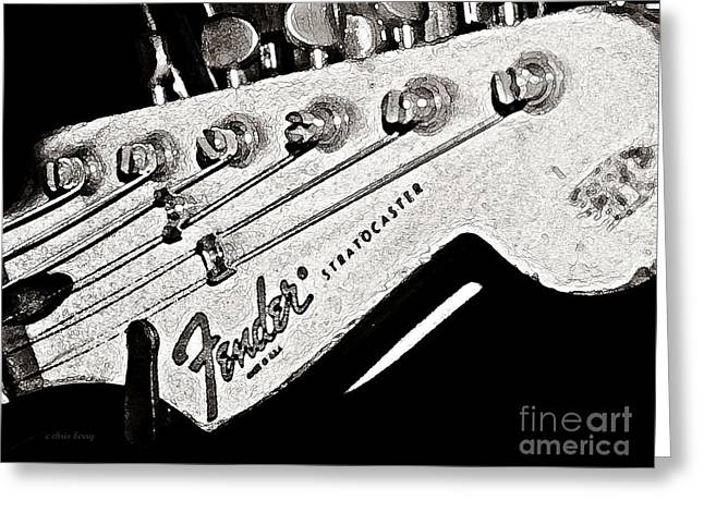 Hardware Greeting Cards - Fender  Watercolor Greeting Card by Chris Berry