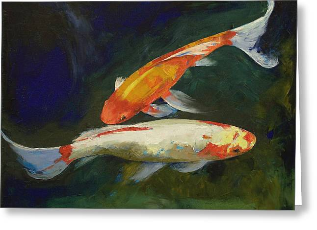 Koi Pond Greeting Cards - Feng Shui Koi Fish Greeting Card by Michael Creese