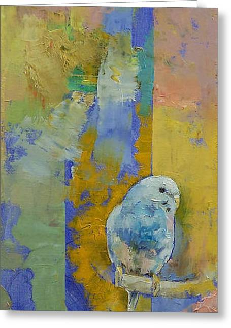 Feng Shui Parakeets Greeting Card by Michael Creese