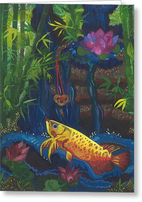 Recently Sold -  - Blue And Green Greeting Cards - Feng Shui Wealth Corner Blessing #2 Greeting Card by Lily Diamond