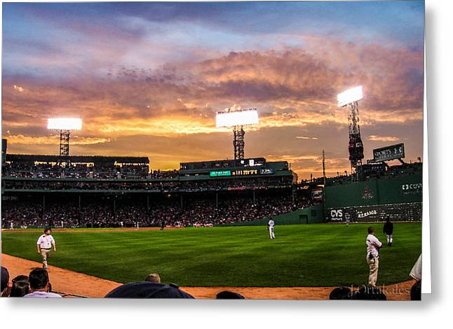 Fenway Park Greeting Cards - Fenway at Sunset Greeting Card by Jeff Ortakales