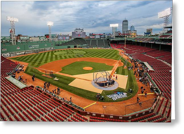 Fenway Park Greeting Cards - Fenway before the storm Greeting Card by Paul Treseler