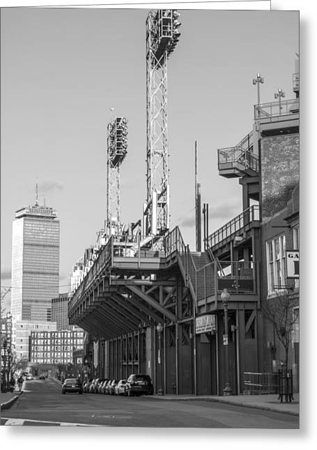 Fenway Park Greeting Cards - Fenway Black and White Greeting Card by John McGraw