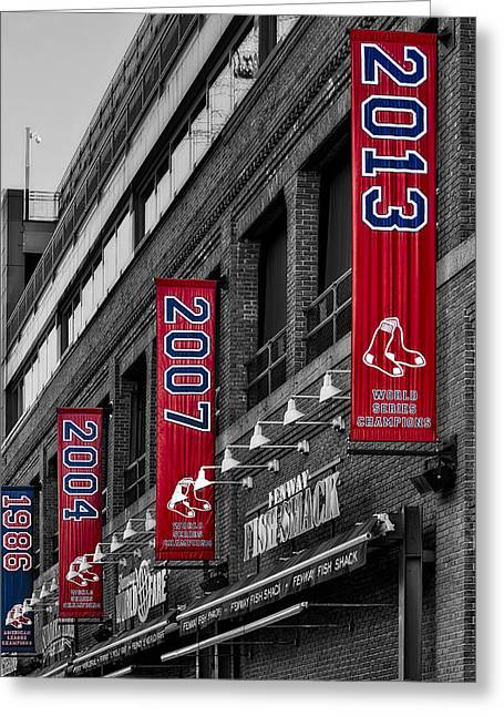 Baseball Stadiums Greeting Cards - Fenway Boston Red Sox Champions Banners Greeting Card by Susan Candelario