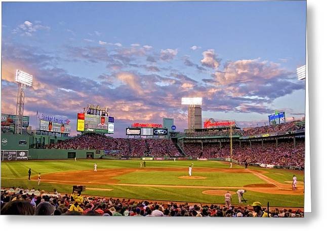 Red Sox Art Greeting Cards - Fenway Night Greeting Card by Donna Doherty