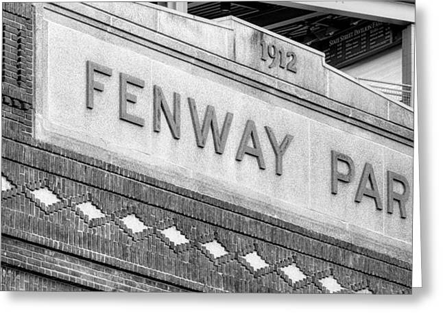 Recreation Building Greeting Cards - Fenway Park 1912 BW Greeting Card by Susan Candelario