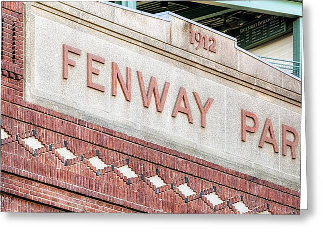 Baseball Stadiums Greeting Cards - Fenway Park 1912 Greeting Card by Susan Candelario