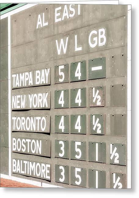 American Pastime Greeting Cards - Fenway Park AL East Scoreboard Standings Greeting Card by Susan Candelario