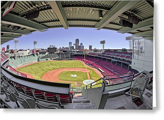 Recreation Building Greeting Cards - Fenway Park and Boston Skyline Greeting Card by Susan Candelario