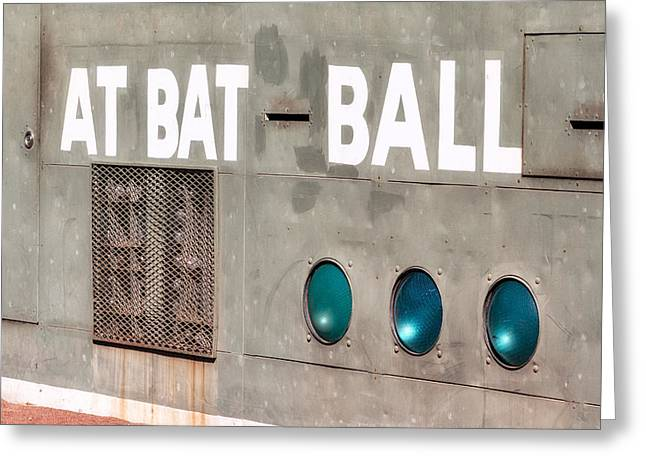 Green Monster Greeting Cards - Fenway Park At Bat - Ball Scoreboard Greeting Card by Susan Candelario
