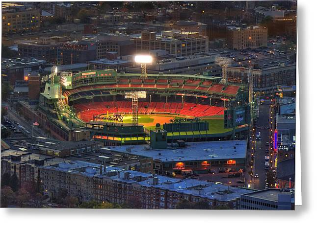 Urban Sport Greeting Cards - Fenway Park at Night - Boston Greeting Card by Joann Vitali