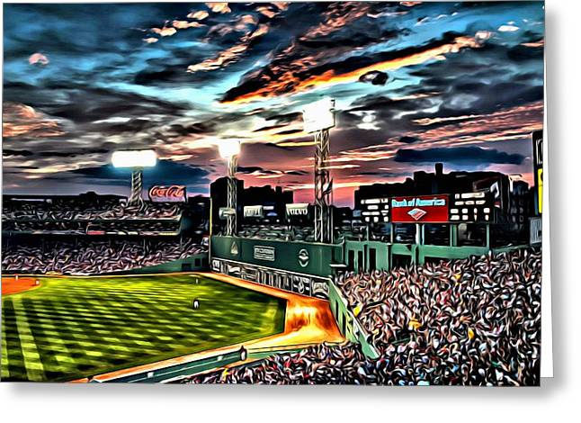 Boston Red Sox Poster Greeting Cards - Fenway Park at Sunset Greeting Card by Florian Rodarte