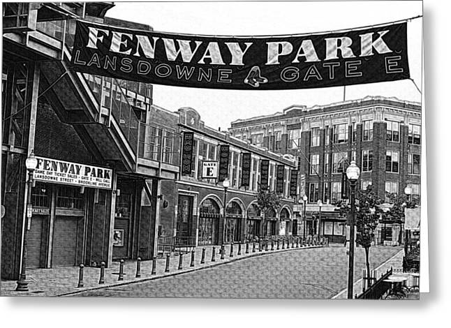 Boston Red Sox Prints Greeting Cards - Fenway Park Banner Black and White Greeting Card by Toby McGuire