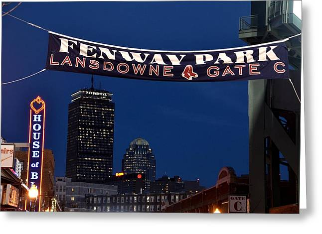 Fenway Park Prints Greeting Cards - Fenway Park Banner Greeting Card by Toby McGuire