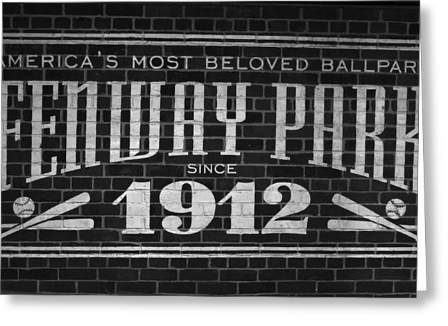 Boston Ma Greeting Cards - Fenway Park Boston MA 1912 Sign Greeting Card by Toby McGuire