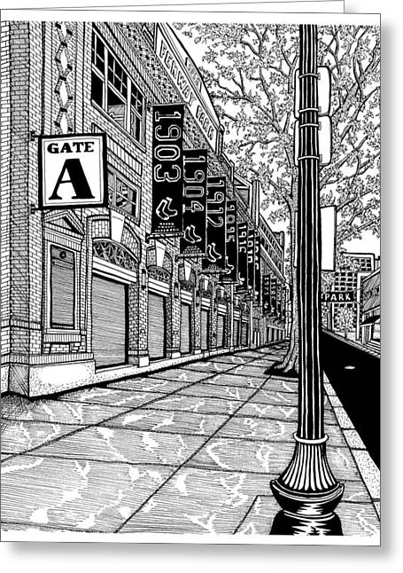 Baseball Parks Drawings Greeting Cards - Fenway Park Greeting Card by Conor Plunkett