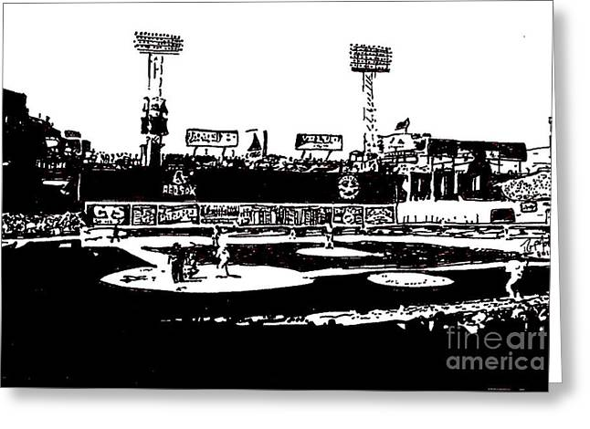 Baseball Parks Drawings Greeting Cards - Fenway Park drawing Greeting Card by Rob Monte