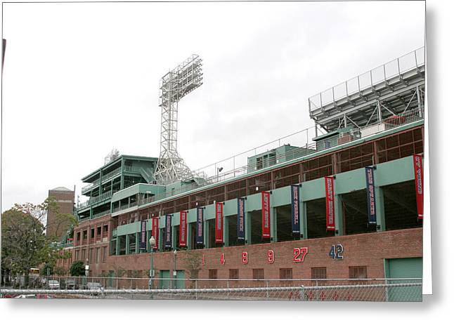 Lengendary Greeting Cards - Fenway Park Exterior 1 Greeting Card by Kathy Hutchins