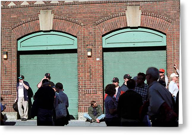 Boston Red Sox Prints Greeting Cards - Fenway Park - Fans and Locked Gate Greeting Card by Frank Romeo