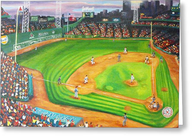 Fenway Park Paintings Greeting Cards - Fenway Park Fantasy Greeting Card by Michell Givens