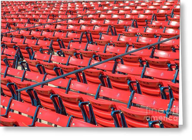 Boston Red Sox Greeting Cards - Fenway Park Grandstand Seats I Greeting Card by Clarence Holmes