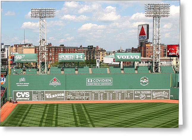 Lengendary Greeting Cards - Fenway Park Green Monster 1 Greeting Card by Kathy Hutchins