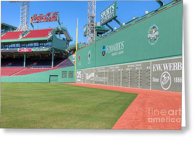 Red Sox Nation Greeting Cards - Fenway Park Green Monster I Greeting Card by Clarence Holmes