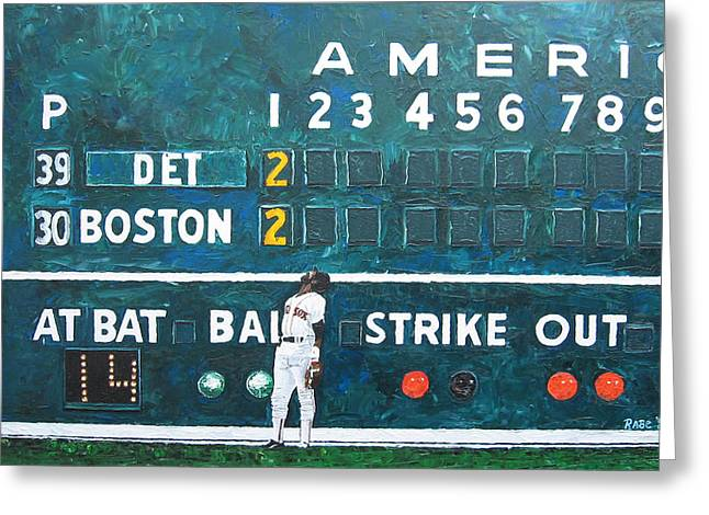 Baseball Paintings Greeting Cards - Fenway Park - Green Monster Greeting Card by Mike Rabe