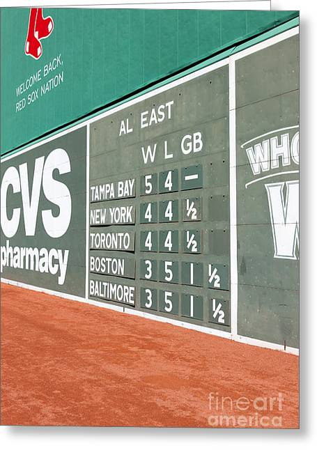 Red Sox Nation Greeting Cards - Fenway Park Green Monster Scoreboard I Greeting Card by Clarence Holmes