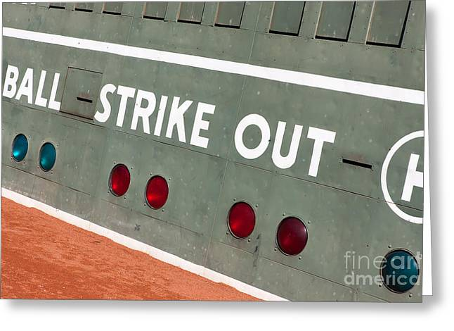 Red Sox Nation Greeting Cards - Fenway Park Green Monster Scoreboard III Greeting Card by Clarence Holmes