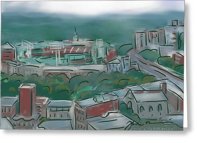 Baseball Parks Drawings Greeting Cards - Fenway Park In The Mist Greeting Card by Jean Pacheco Ravinski