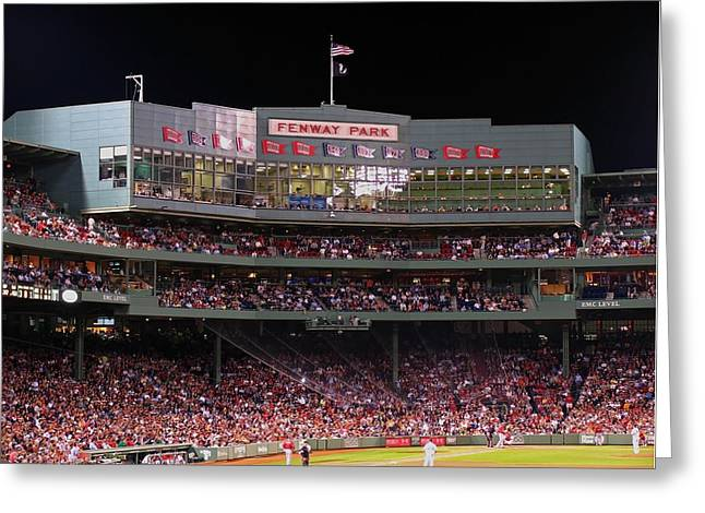 Press Box Greeting Cards - Fenway Park Greeting Card by Juergen Roth
