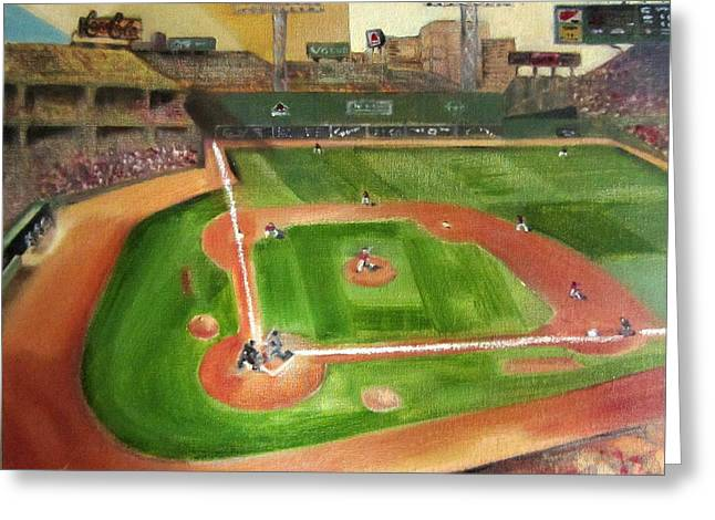 Red Sox Paintings Greeting Cards - Fenway Park Greeting Card by Lindsay Frost