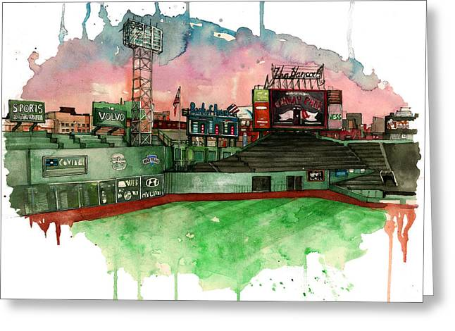 Red Sox Art Mixed Media Greeting Cards - Fenway Park Greeting Card by Michael  Pattison