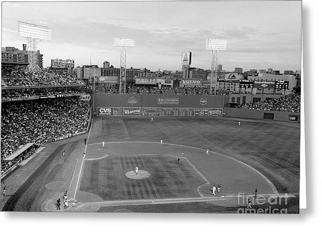 Boston Red Greeting Cards - Fenway Park Photo - Black and White Greeting Card by Horsch Gallery