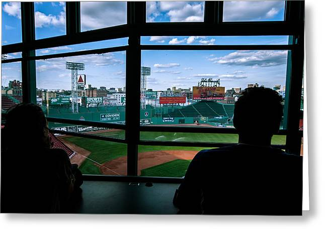 Press Box Greeting Cards - Fenway Park Press Box Greeting Card by Tom Gort